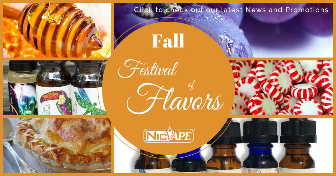 NicVape E-Liquid and DIY Vaping Supplies Fall Savings and Announcements