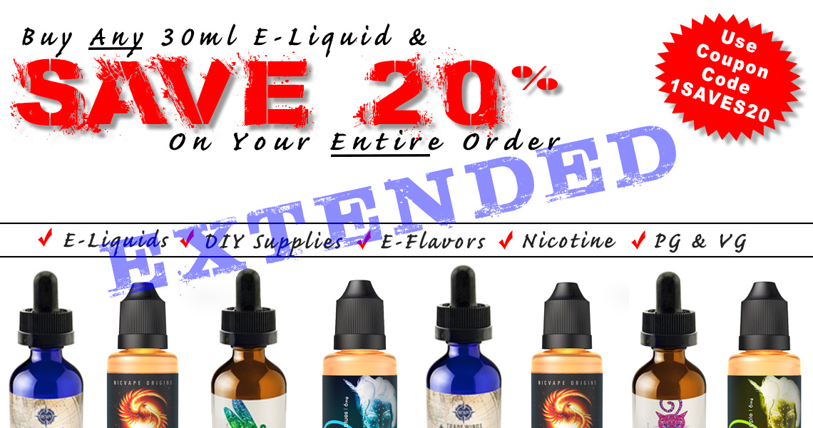 NicVape E-Liquid and DIY Vaping Supplies Fall Sale - EXTENDED