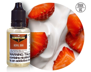 Camouflage Devil Dog Max-VG E-Liquid NicVape, Camouflage, eliquid, e-liquid, ejuice, e-juice, strawberry yogurt flavored e-liquid, vape juice, devil dog