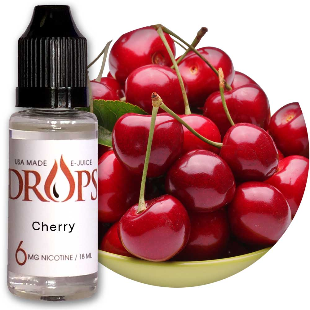 Drops™ Cherry E-Juice NicVape, Drops, eliquid, e-liquid, ejuice, e-juice, cherry flavored e-liquid, vape juice, cherry flavored e-liquid