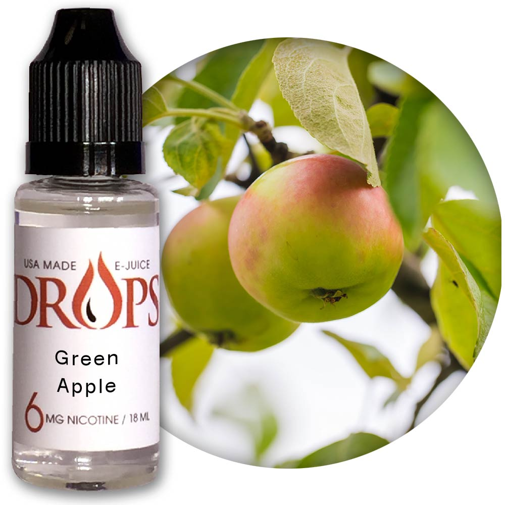 Drops Green Apple E-Juice NicVape, Drops, eliquid, e-liquid, ejuice, e-juice, green apple flavored e-liquid, vape juice, green apple eliquid