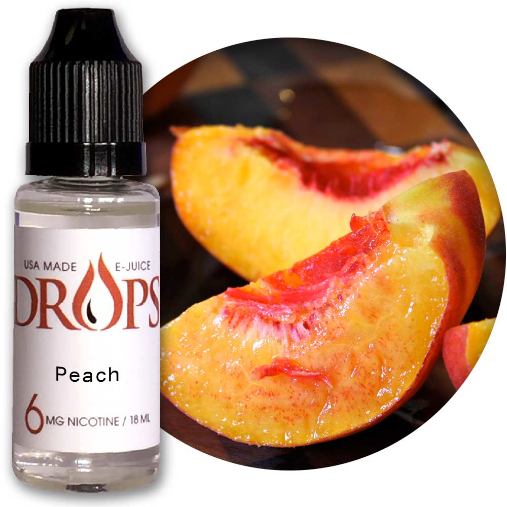 Drops Peach E-Juice NicVape, Drops, eliquid, e-liquid, ejuice, e-juice, peach flavored e-liquid, vape juice, peach eliquid
