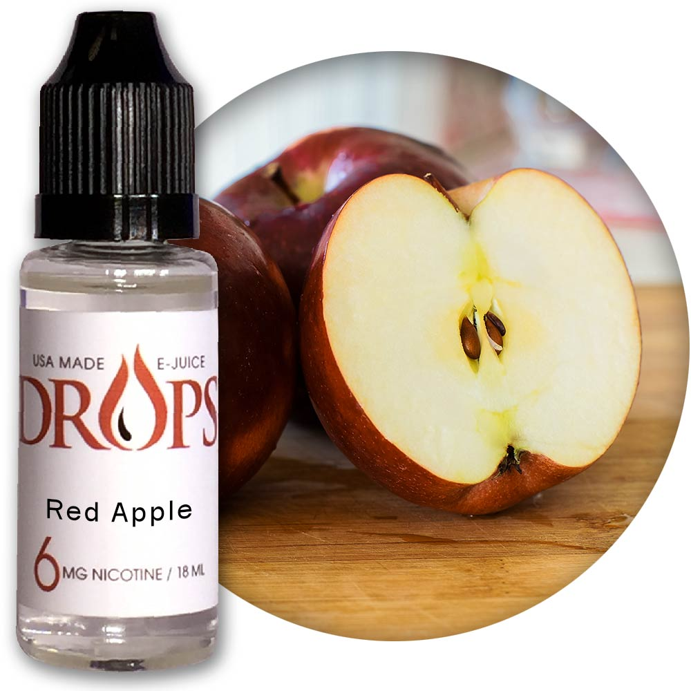 Drops Red Apple E-Juice NicVape, Drops, eliquid, e-liquid, ejuice, e-juice, red apple flavored e-liquid, vape juice, red apple eliquid