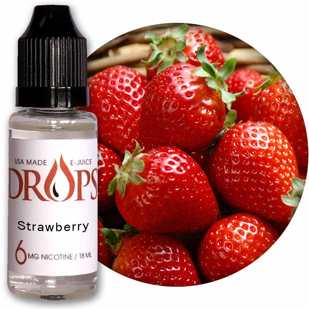 Drops Strawberry E-Juice NicVape, Drops, eliquid, e-liquid, ejuice, e-juice, strawberry flavored e-liquid, vape juice, strawberry eliquid